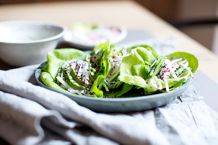 avocado + snap pea + radish lettuce wraps | what's cooking good looking