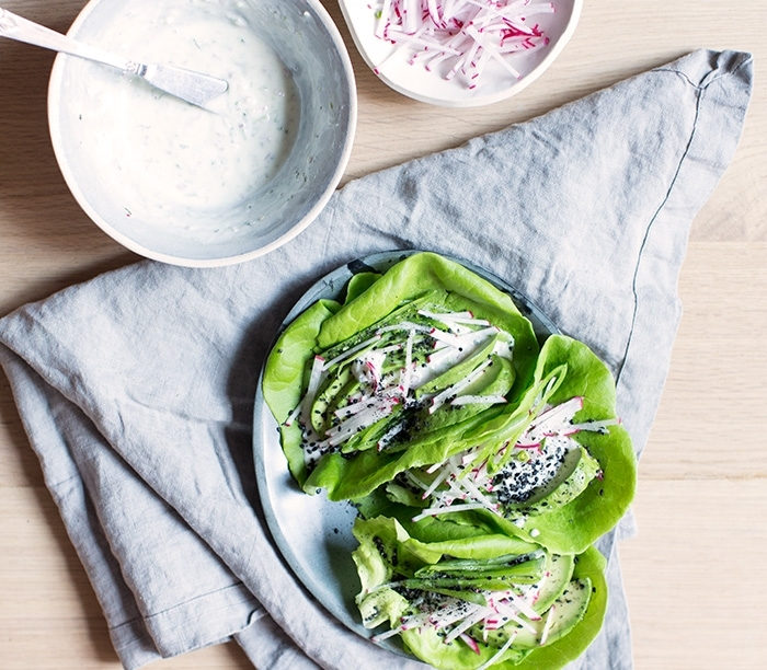 AVOCADO + SNAP PEA + RADISH LETTUCE WRAPS WITH A JALAPENO MINT YOGURT
