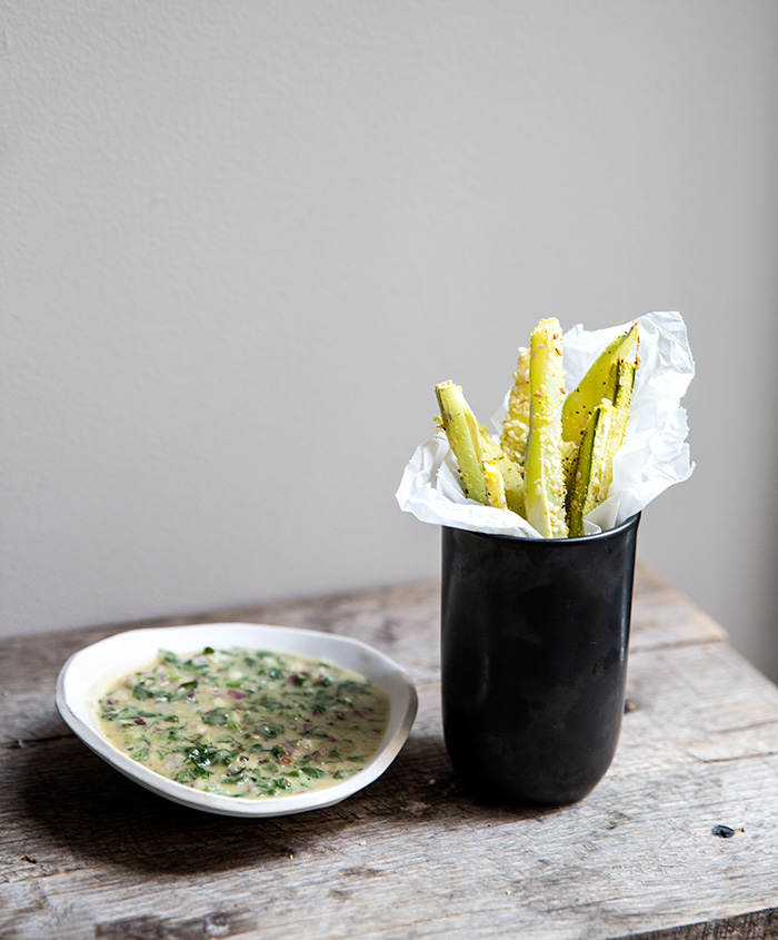 broccoli stem fries + chimichurri tahini | what's cooking good looking