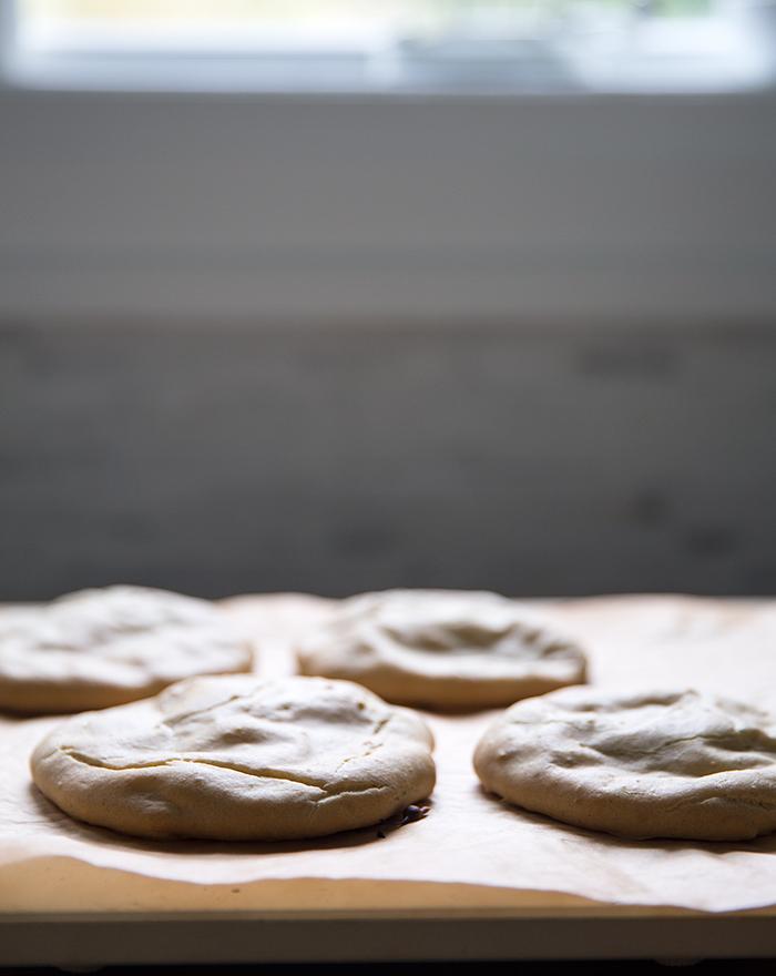 zucchini + corn + sweet potato fritters | poblano avocado cream | homemade (gf+df) pita bread
