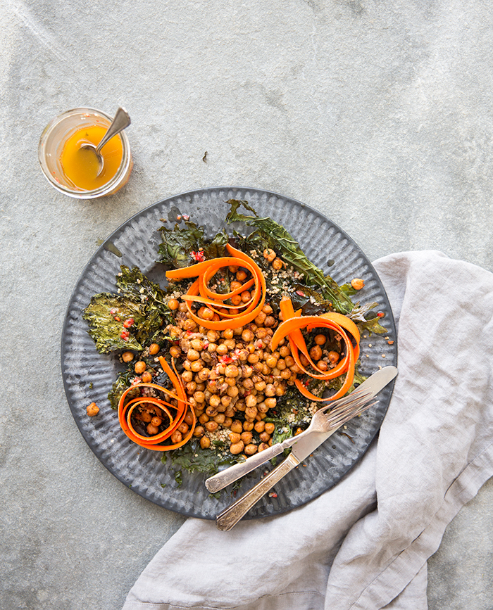 spicy chickpea + kale salad with marinated carrots