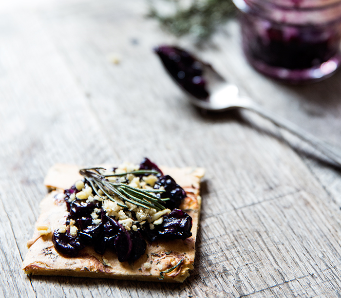 CONCORD GRAPE SAUTE | HERB + SHALLOT SOCCA