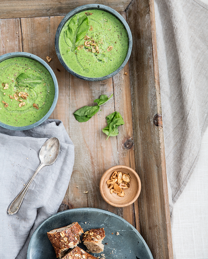 broccoli arugula soup with garlic chips | what's cooking good looking