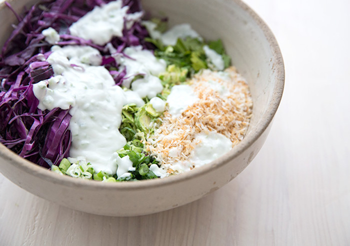 chili coconut lime brussel sprout slaw | what's cooking good looking