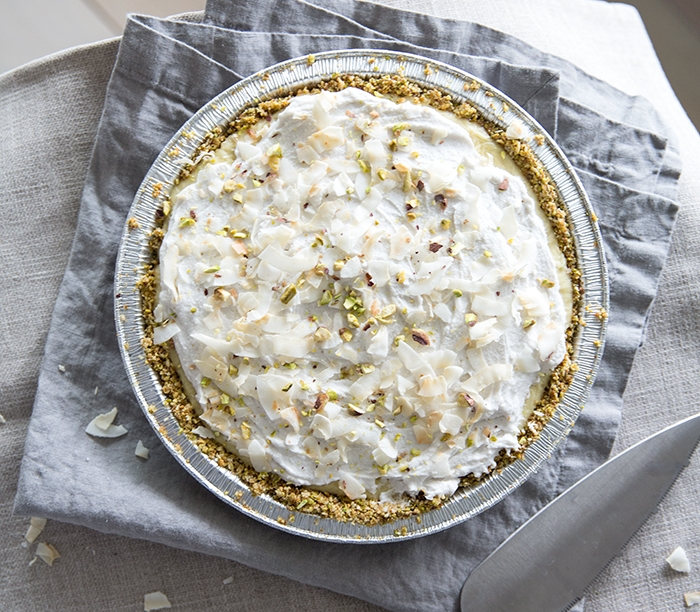 COCONUT CREAM PIE | PISTACHIO + TOASTED COCONUT CRUST (GF+DF)