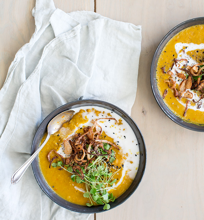 yellow split pea soup with crispy shallots | what's cooking good looking
