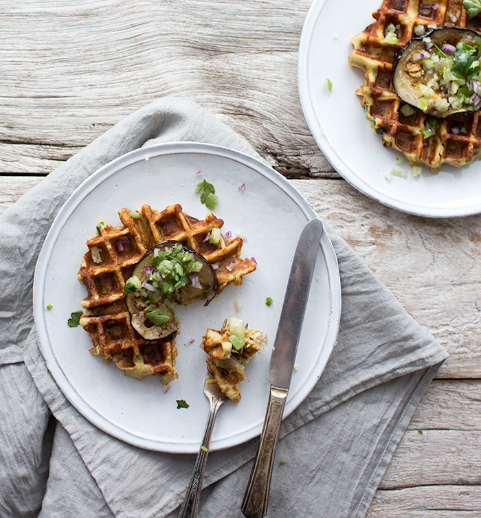 parsnip, shallot, and chive waffles with sliced eggplant + salad verde | what's cooking good looking