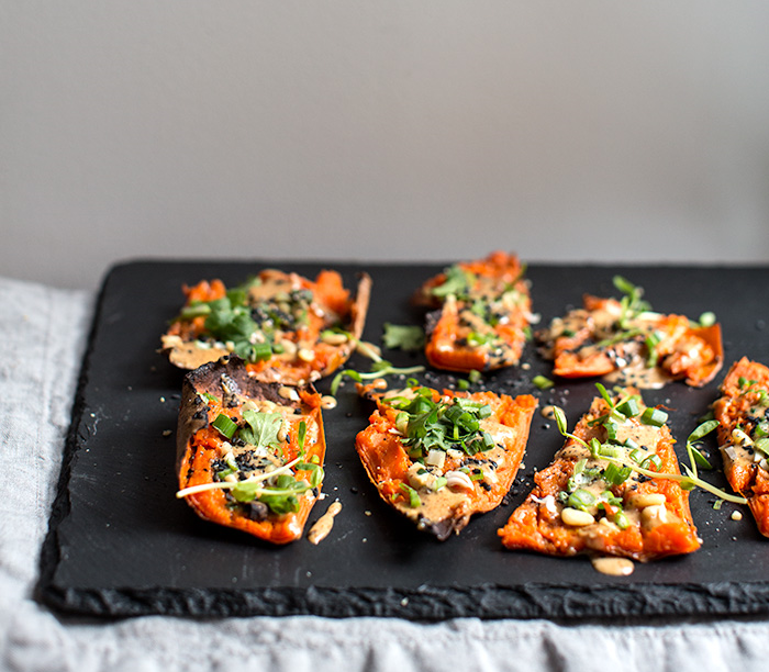 THAI PEANUT SWEET POTATO SKINS