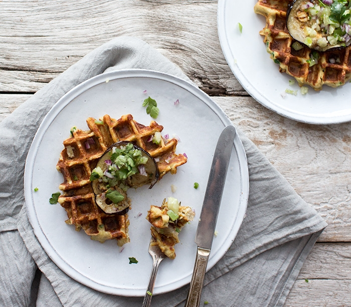 TURNIP, SHALLOT + CHIVE WAFFLES TOPPED WITH SALSA VERDE + EGGPLANT
