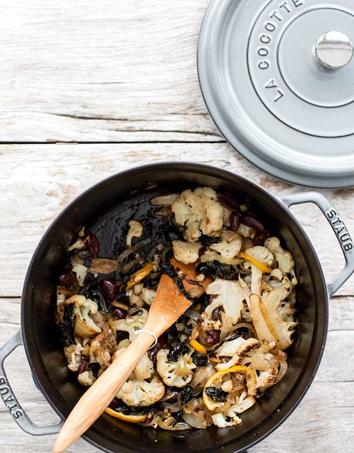 braised kale + cauliflower with meyers lemons, garlic + olives | what's cooking good looking