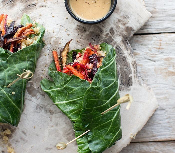 COLLARD WRAPS WITH ROASTED VEGGIES AND MUSTARD MISO
