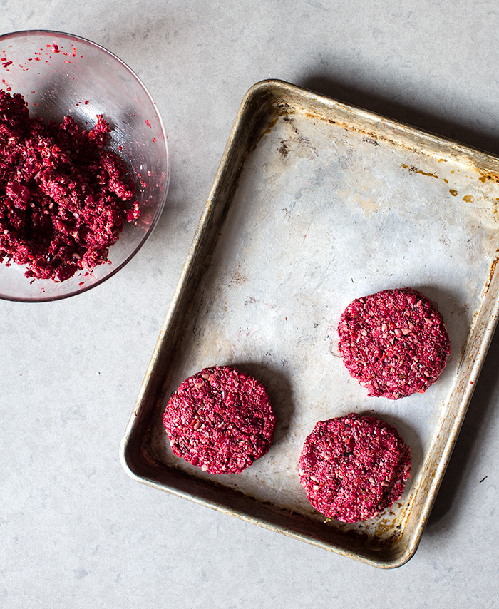 farro + beet burgers with chimichurri yogurt | what's cooking good looking