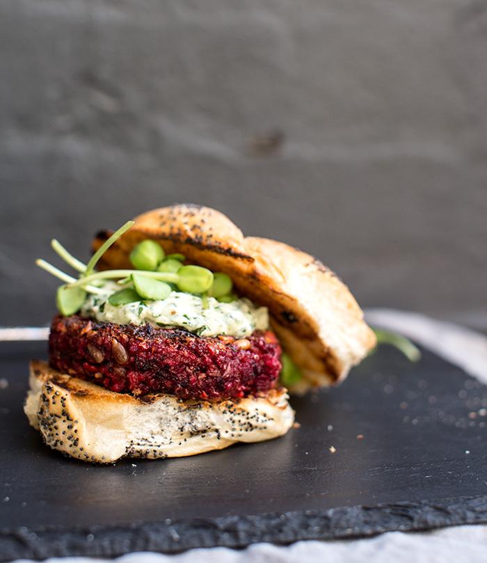 farro + beet burgers with chimichurri yogurt | what's cooking good looking