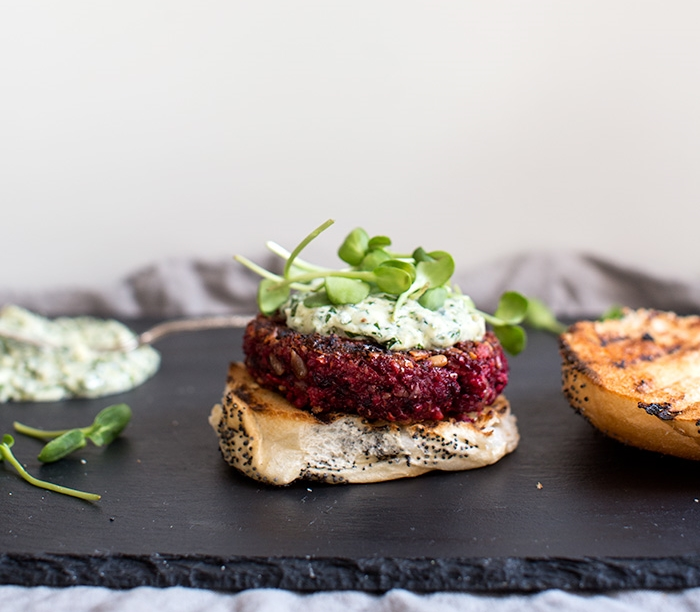 FARRO + BEET BURGERS WITH A CHIMICHURRI YOGURT