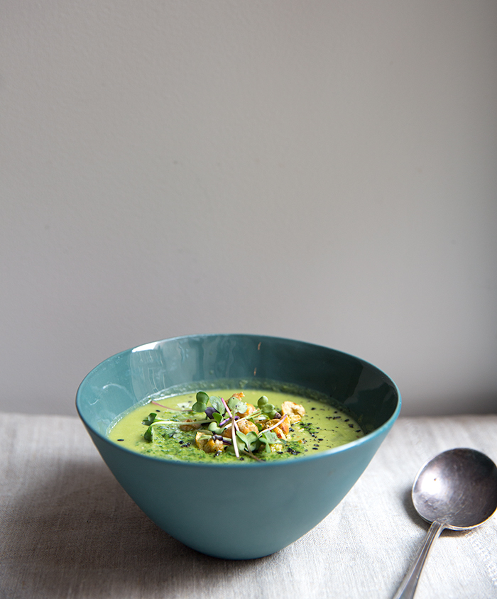 spring pea miso soup + wasabi chickpeas + dandelion pesto | what's cooking good looking