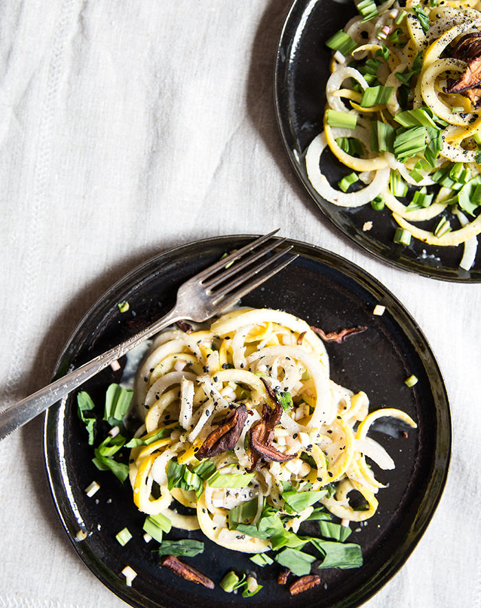 daikon + zucchini noodles with a ramp tahini, crispy shiitakes + pickled ramps | what's cooking good looking