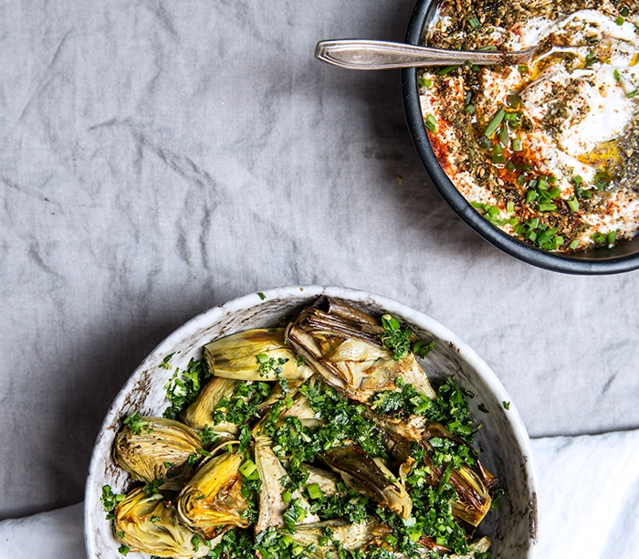 ROASTED BABY ARTICHOKES WITH GREMOLATA + LEMON ZA'ATAR YOGURT