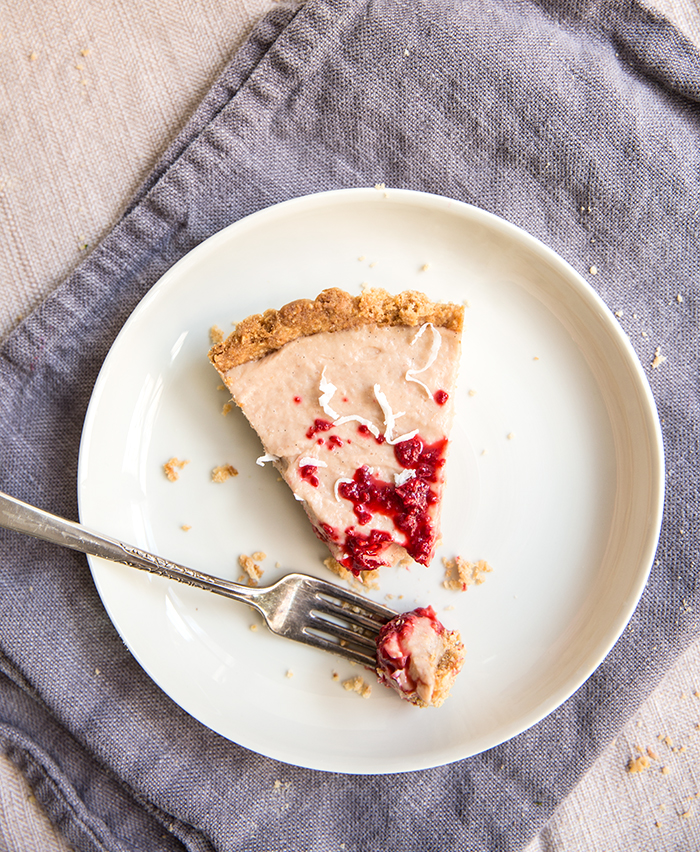 rhubarb tart with a macadamia nut crust + raspberry ice | what's cooking good looking