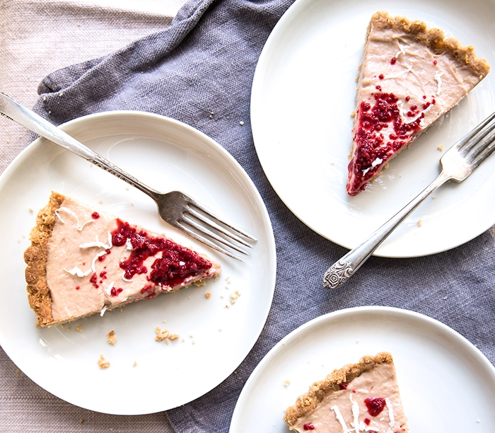 RHUBARB CUSTARD TART WITH A MACADAMIA NUT CRUST + RASPBERRY ICE | GF+DF