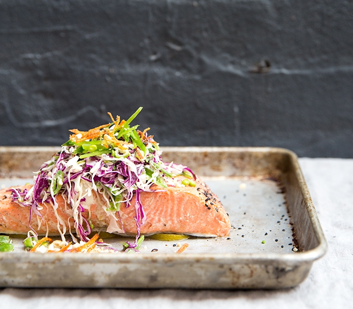 BLACK PEPPER + LIME BAKED WILD SALMON WITH SNAP PEA SLAW + CRISPY CARROTS