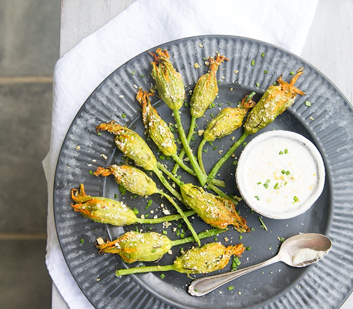 KALE PESTO + RICE STUFFED ZUCCHINI FLOWERS WITH A HERBED CASHEW CREAM
