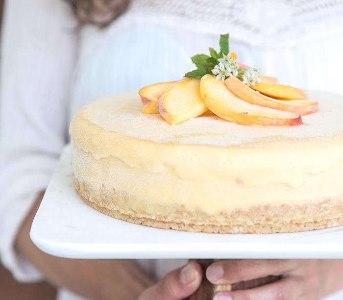 PEACH + HONEY ICE CREAM CAKE | TOASTED CASHEW CRUST (DF+GF)