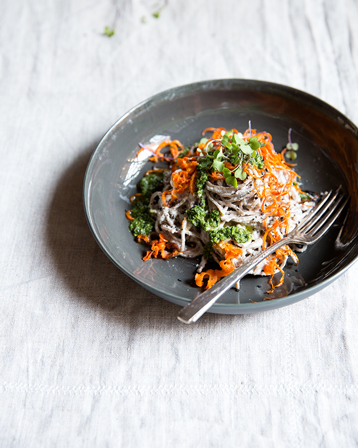 soba + carrot noodles with a miso cashew cream + carrot top harissa | what's cooking good looking