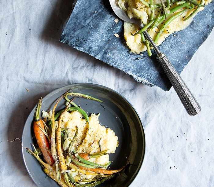 ROASTED CARROTS + GREEN BEANS + FENNEL + ZA'ATAR AND HOW TO MAKE THE CREAMIEST POLENTA