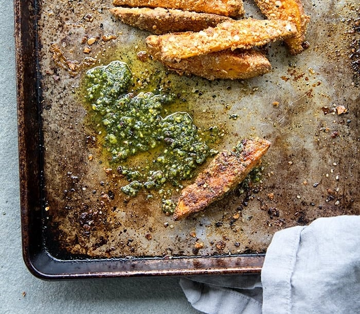 ALMOND CRUSTED SWEET POTATO TENDERS + MINT AND PISTACHIO CHUTNEY