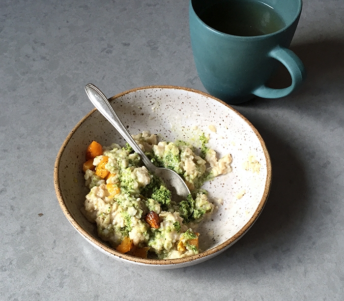 SAVORY OATMEAL WITH ROASTED BUTTERNUT SQUASH + SALT AND WALNUT PESTO