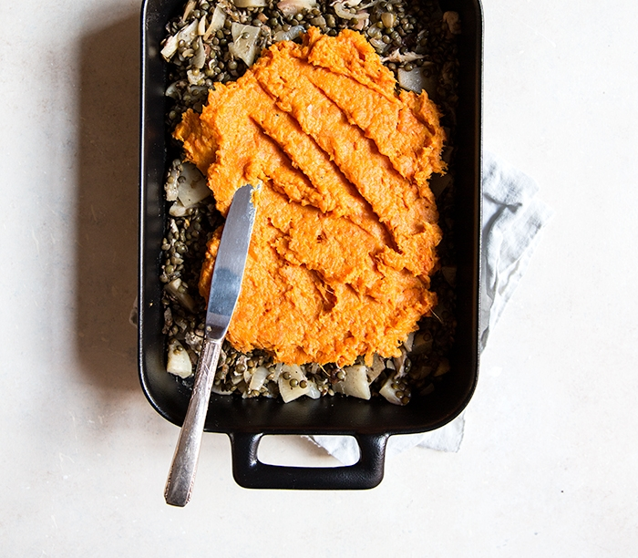 VEGGIE SHEPARD'S PIE WITH A CURRIED SWEET POTATO CRUST