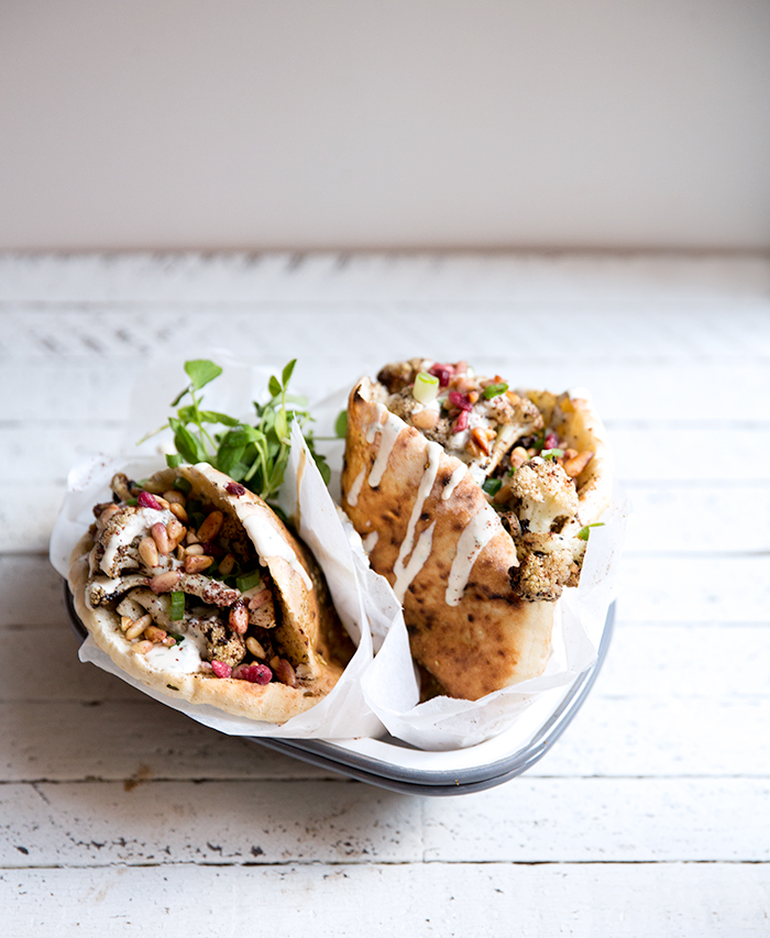 cauliflower shawarma + homemade (gf+df) chickpea pita bread | what's cooking good looking