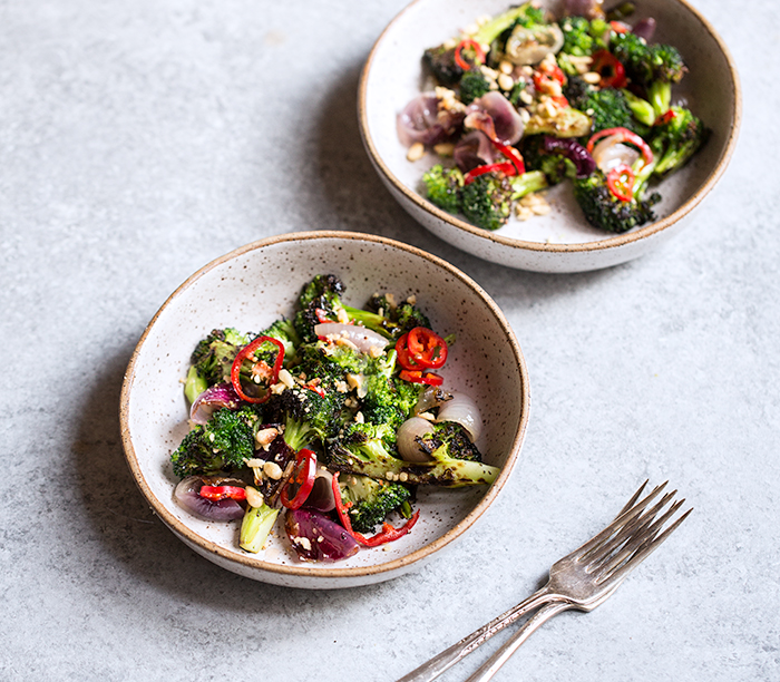 CHARRED BROCCOLI SALAD + SHALLOT CONFIT + PICKLED RED CHILIES