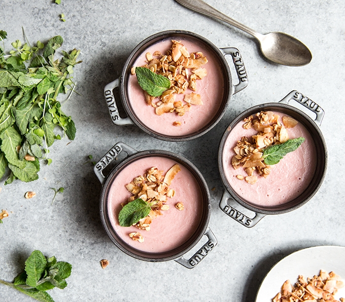 RHUBARB PANNA COTTA + STRAWBERRY COCONUT CRUNCH (GF+DF)
