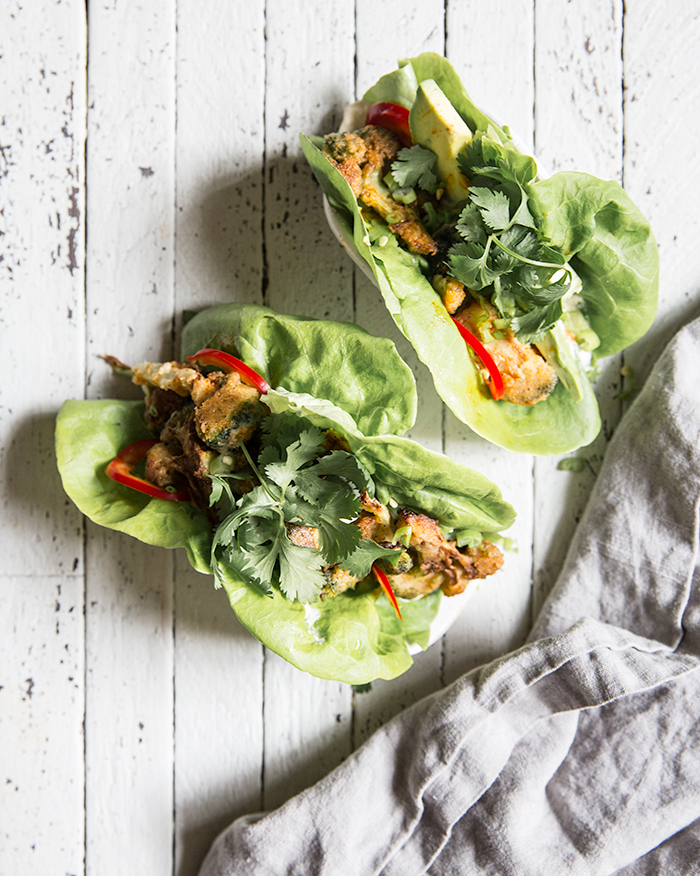 spicy crispy broccoli lettuce wraps + tangy cashew cream | what's cooking good looking