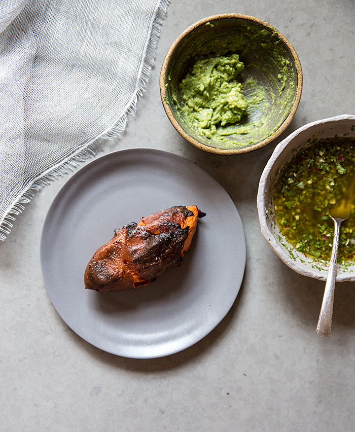 crisped sweet potato + avocado mash + poached egg + chimichurri | what's cooking good looking