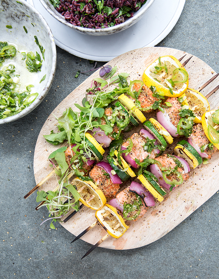 wild salmon skewers + ginger scallion relish + lemongrass sticky rice | what's cooking good looking