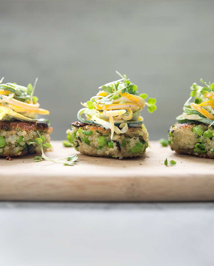 quinoa pea fritters + tarragon zucchini slaw | what's cooking good looking