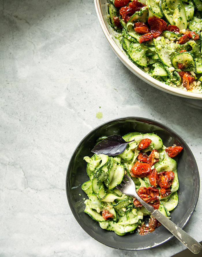 "cucumber + zucchini + kelp noodles ""pasta salad"" with arugula pesto + roasted cherry tomatoes 