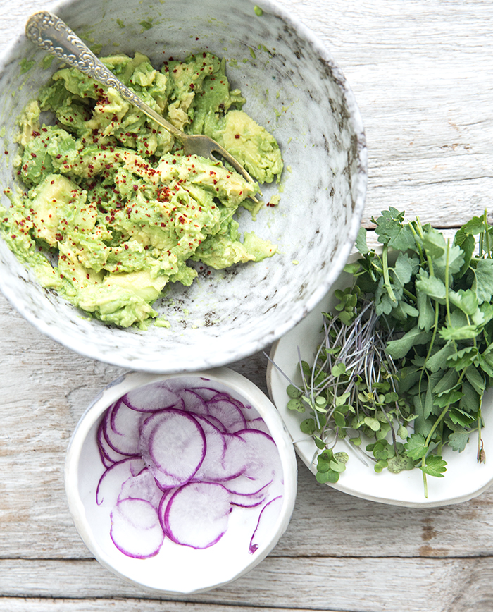 chickpea crepes topped with smashed avocado + arugula | what's cooking good looking