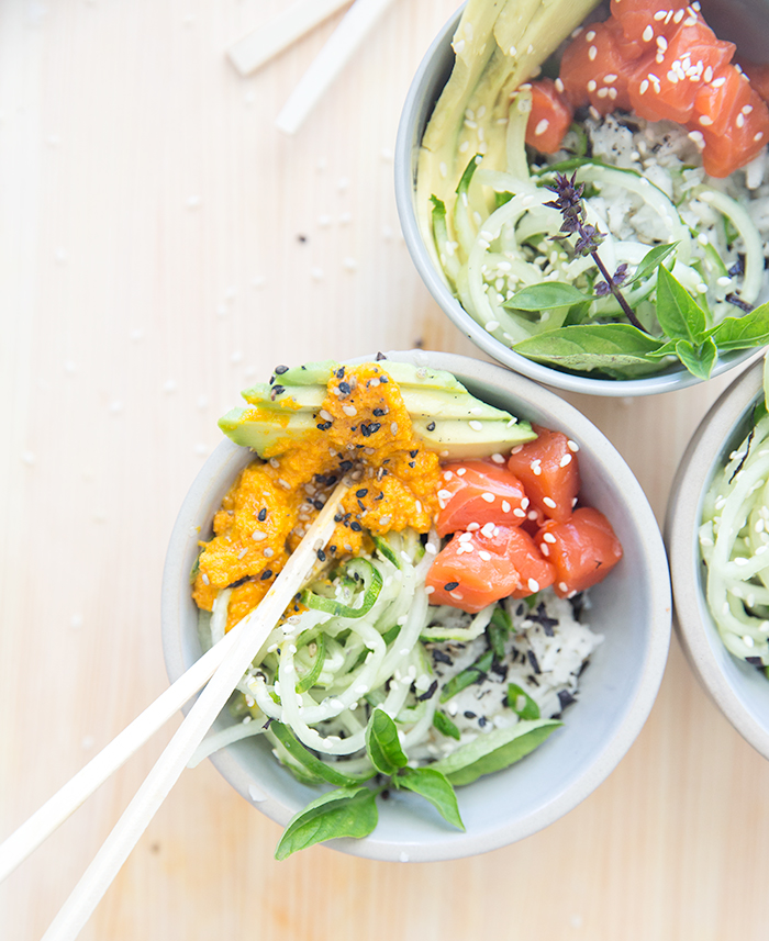 spirialized sushi bowl + carrot ginger dressing | what's cooking good looking