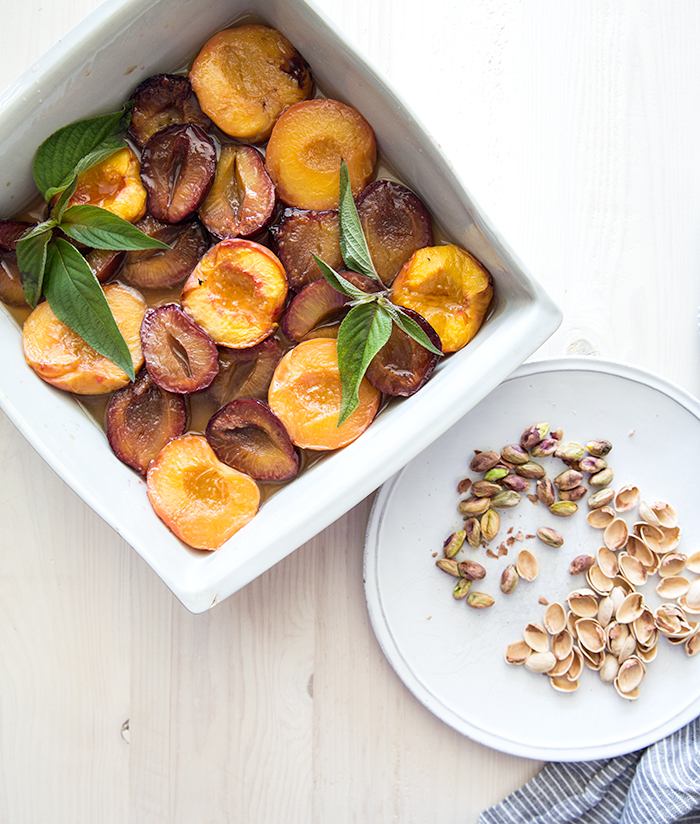 roasted wine soaked peaches + plums with whipped aquafaba | what's cooking good looking