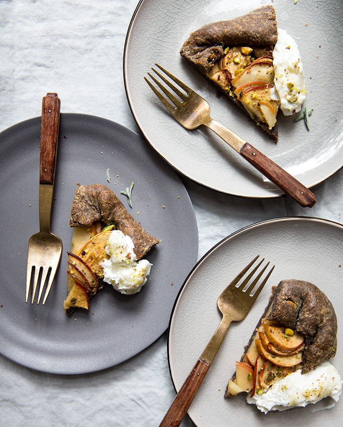 apple + sage buckwheat galette with salted honey labneh | what's cooking good looking