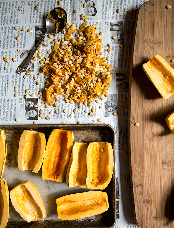twice baked delicata squash + crispy za'atar roasted chickpeas | what's cooking good looking
