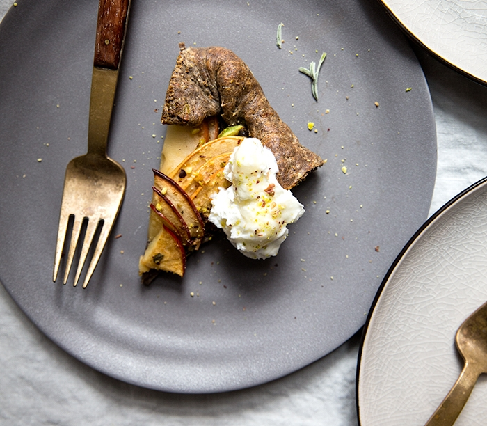 APPLE + SAGE BUCKWHEAT GALETTE WITH SALTED HONEY LABNEH