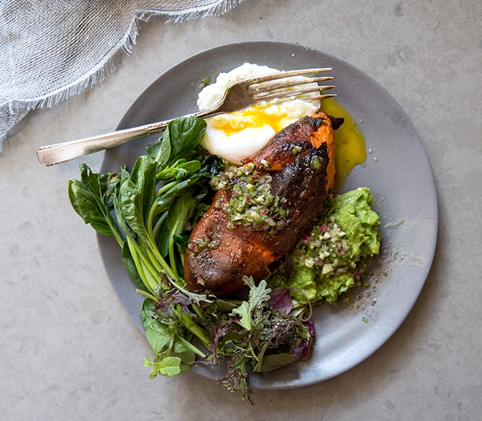 CRISPY SKINNED SWEET POTATO + AVOCADO MASH + CHIMICHURRI  + POACHED EGG