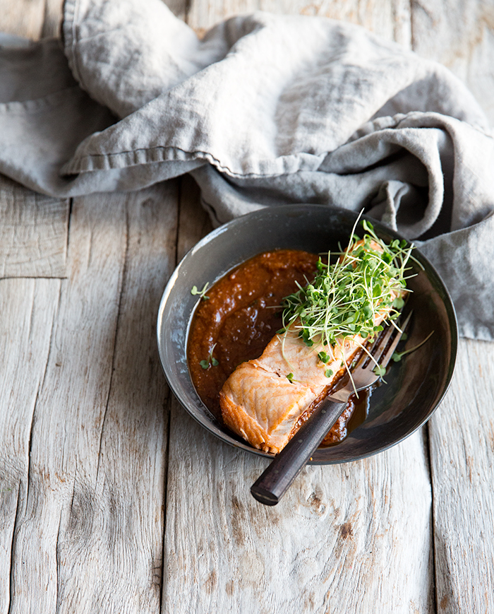 salmon + spicy caraway tomato sauce | what's cooking good looking