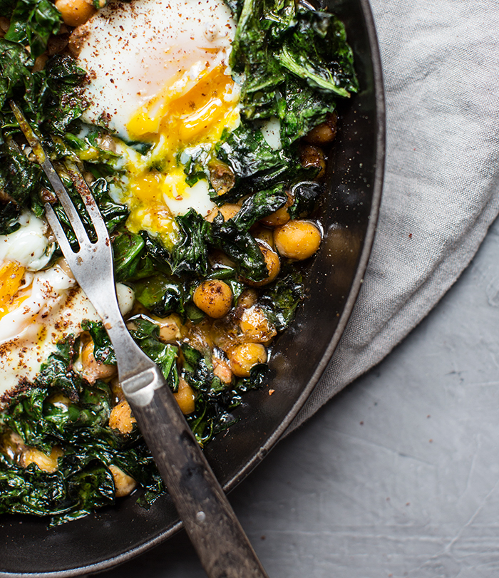 olive oil baked chickpea + egg + spinach with sumac | what's cooking good looking