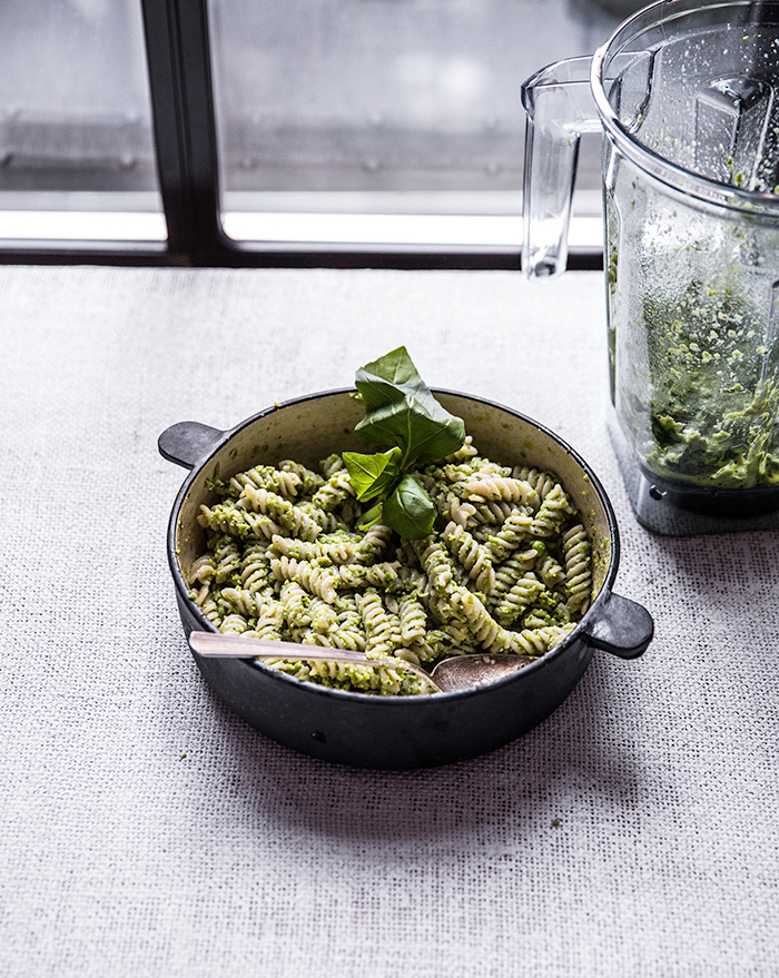 minty pea pesto pasta + crispy roasted cauliflower | what's cooking good looking