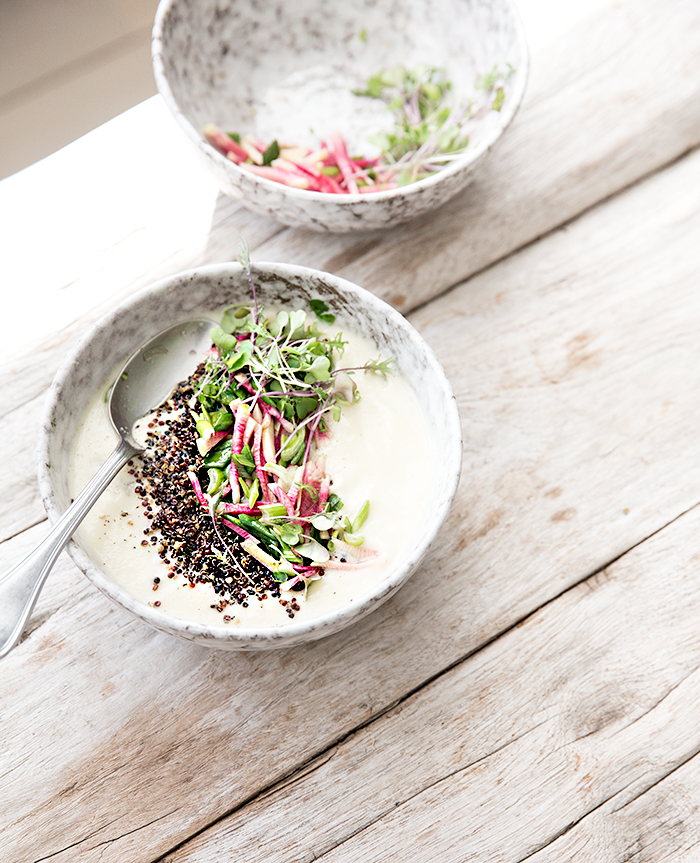 spring onion miso soup + quinoa + radish relish | what's cooking good looking